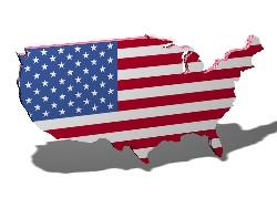 American flag set on the map of the USA