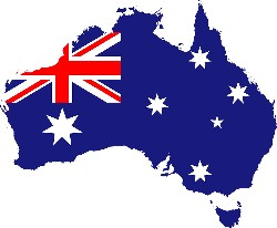 Australian flag set on the map of Australia
