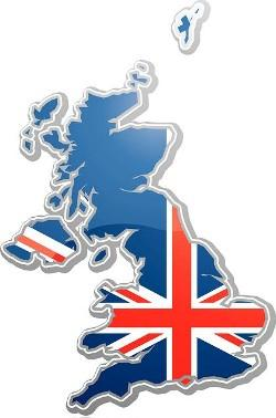 British UK flag set on the map of Britain UK England