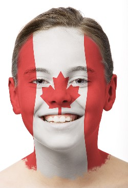 Canadian with map of Canada facepaint