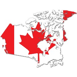 Canadian flag set on the map of Canada