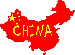 Chinese flag set on the map of China