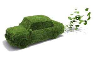 Eco friendly green car with grass surface and harmless exhaust emissions