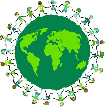 View of the earth with eco friendly citizens joining hands worldwide