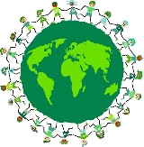 Eco friendly citizens holding hands around the world