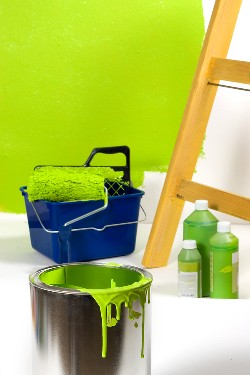 Scene of a room being painted with eco green paint