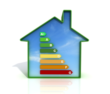 Energy certification symbol shown inside an eco friendly home
