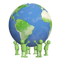 Eco friendly green citizens holding the earth globe up together