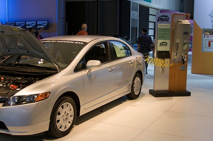 View of the Honda Civic GX NGV CNG connected to an CNG filling station at the LA auto show by jmrosenfeld on Flickr