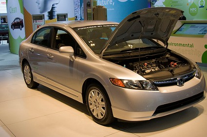 Right side view of the Honda Civic GX NGV CNG at the LA auto show by jmrosenfeld on Flickr