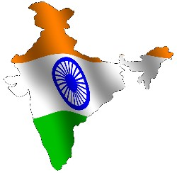 Indian flag set on the map of India