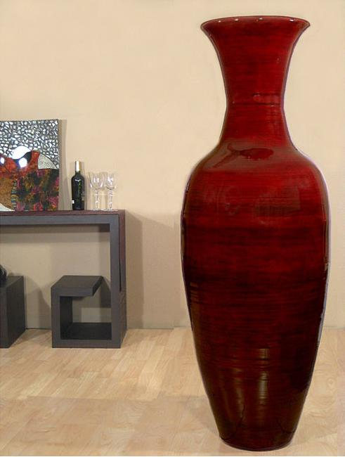 5ft red floor vase