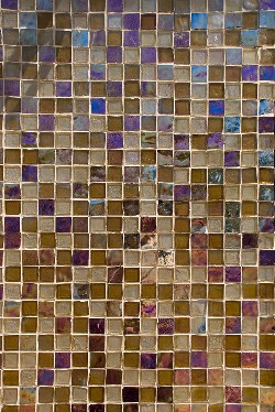 Recycled glass floor tiles in brown blue and violet colors