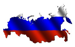 Russian flag set on the map of Russia