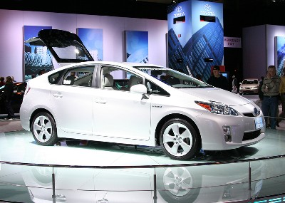 Side and front view of a Toyota Prius at the auto show