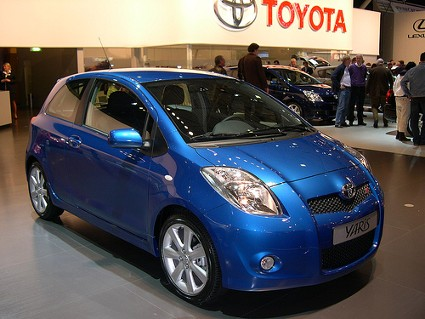 Blue Toyota Yaris on display at the auto show