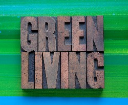 Eco green living plaque illustration emblem