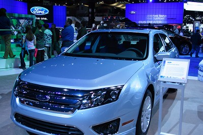 Ford Fusion Hybrid on display at the auto show