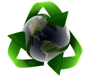 A glass earth globe encompassed by the eco friendly green recycle symbol